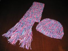 Colorful hat and scarf for girls. My own design made with soft acrylic yarn.