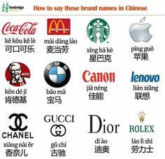Nombres de marcas en chino