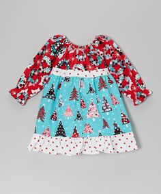 Take a look at this Teal & Red Christmas Tree Pattycake Dress - Toddler & Girls by Beary Basics on #zulily today!
