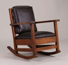 Early Limbert rocker c1902-1905.  Excellent original finish.  Signed twice with early paper label under arm and under seat.