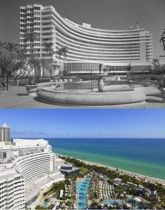 Then: The Fontainebleau has been a Miami icon since it first opened in the 1950s. Now: The Fontainebleau sits amid a mixture of older and newer buildings in Miami Beach.