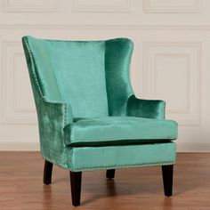 Soho Turquoise Velvet Wing Chair | Overstock.com Shopping - Great Deals on Chairs