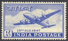 The third stamp, Douglas DC-4 aircraft, meant for foreign airmail, 12 annas