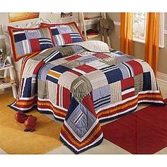 Circo 174 Orange Patchwork Quilt Set Sam Quilt Sets
