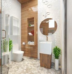 Jasna łazienka z płytkami imitującymi drewno