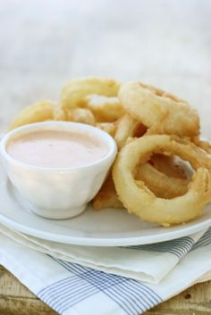 Homemade Beer-Battered Onion Rings with Chipotle Dipping Sauce
