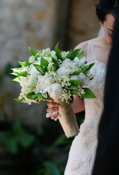 Exquisite Bridal Bouquet Comprised Of: White Peonies, White Gardenias, Lily Of The Valley, Green Parrot Tulips + Greenery/Foliage~~