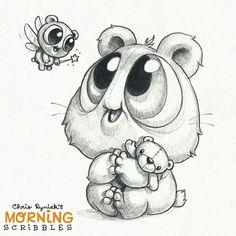 Chris Ryniak - morning scribbles - cute and funny art Cute Monsters Drawings, Cartoon Drawings, Animal Drawings, Easy Drawings, Cartoon Art, Drawing Sketches, Sweet Drawings, Illustration Art Dessin, Monster Drawing