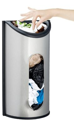 Grocery Bag Holder Dispenser Wall Mount Stainless Steel Home Storage Convenient…