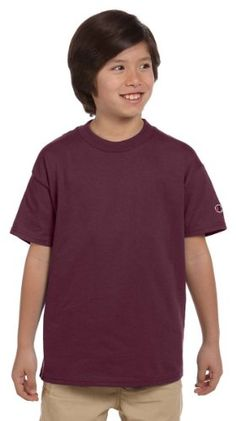 Champion Youth 6.1 oz. Tagless T-Shirt - MAROON - L * You can find more details at