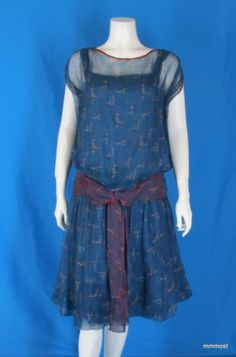 Vintage 1920s Silk Chiffon FLAPPER DRESS Geometric Print with Chemise Lining