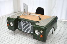 Land Rover office desk custom bespoke up-cycled car furniture hand made unique Car Part Furniture, Automotive Furniture, Automotive Decor, Unique Furniture, Landrover, Man Cave Garage, Desk Organization, Land Rover Defender, Car Wash