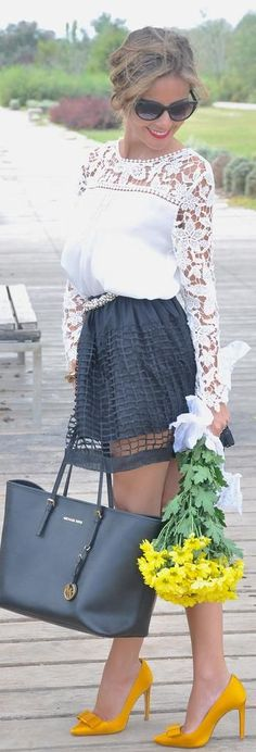 White Lace Blouse with Cut-out Skirt and Leather M...
