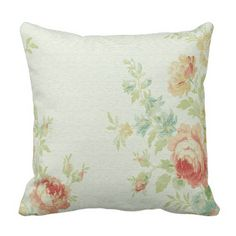 Vintage Cabbage Rose Throw Pillow-Pale Pink/Peach Throw Pillow