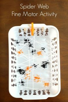 Spider web fine motor game for preschoolers and toddlers. A fun spider activity! #fallactivities #halloweenactivities #halloween #preschool #kindergarten #kidsactivities #spideractivities #finemotor #finemotorskills