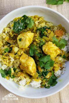 Rockfish Recipes, Halibut Recipes, Cod Recipes, Spinach Recipes, Seafood Recipes, Healthy Recipes, Pacific Cod, Coconut Fish, Madras Curry