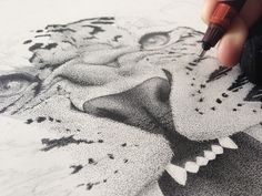 Portrait of a Leopard Meticulously Crafted with Hundreds of Thousands Stippled Marks - My Modern Met