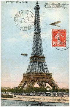 eiffel tower   DIGITAL Download, Eiffel Tower, Postcard, LAviation, Paris, France ...