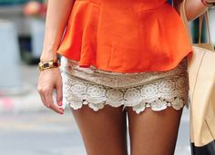 vivid orange with lace skirt.