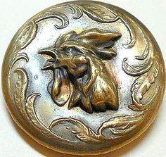 Nicely Detailed Antique Brass Rooster Button