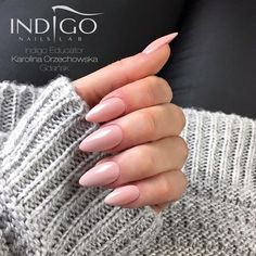 Chic Nude Gel Polish  by Indigo Educator Karolina Orzechowska, Gdańsk #nails #nail #nude #almond #indigo #indigonails #pink #pastel #naturalnails