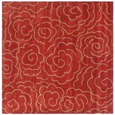 @Overstock - This floor rug has a red background and displays stunning panel color of ivory.http://www.overstock.com/Home-Garden/Handmade-Soho-Roses-Red-New-Zealand-Wool-Rug-6-Square/5047337/product.html?CID=214117 $161.52