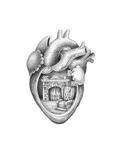 Heart chamber by Suflanda https://www.etsy.com/nl/listing/211672855/herzkammer-heart-chamber-print