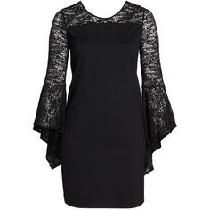 Plus Size Women's Vince Camuto Bell Sleeve Shift Dress ($148) ❤ liked on Polyvore featuring plus size women's fashion, plus size clothing, plus size dresses, navy, plus size, navy blue dress, navy blue chiffon dress, vince camuto dresses, shift dress and plus size chiffon dresses