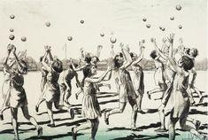 #Ethel #Leontine #Gabain: #London Schoolgirls at Finnemore Wood - Camp Children in #Wartime, 1940  Framed  Signed in the print  #Lithograph #art #children #war #warart #art #modernart #Britishart #playground #ball #catch #llfa Art Society, 10 Picture, French Artists, Beautiful Paintings, Modern Art, Camping, Gallery, Drawings, Illustration