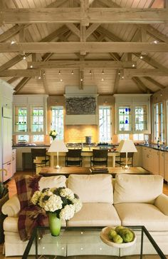[CasaGiardino] ♛ craftsman home plans kitchen home design architectural tree house vacation home exposed beams lofted ceiling great room architect Annapolis MD Donald Lococo Style At Home, Living Area, Living Spaces, Living Room, Cottage Living, Craftsman Interior, Craftsman Kitchen, Craftsman Style, Diy Holz