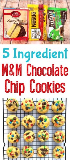 Chocolate Chip Cookies Recipe! These Easy, Chewy, M&M Cake Mix Cookies are the best! Just 5 Ingredients!