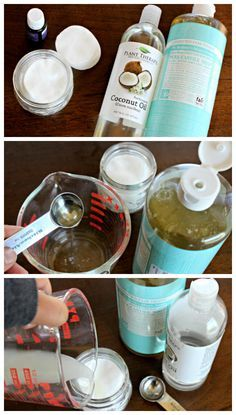 Homemade Makeup Remover Pads 1 – 4 ounce jar Organic Cotton Pads (like this) 1 – 2 Tablespoons of Fractionated Coconut Oil (like this) 1 Teaspoon of castile soap Distilled Water Drops of essential oils (Optional – Lavender is a great essential oil Diy Makeup Remover Pads, Homemade Makeup Remover, Coconut Oil Makeup Remover, Diy Makeup Wipes, Diy Makeup Remover Wipes, Makeup Hacks, Diy Natural Makeup Remover, Non Toxic Makeup Remover, Makeup Ideas