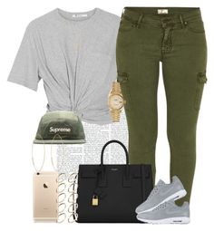 """""""Gray x Green"""" by livelifefreelyy ❤ liked on Polyvore featuring T By Alexander Wang, Mother, Yves Saint Laurent, NIKE, Gucci, ASOS, Rolex and Lana"""