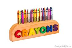 Love this! Crayon Holder - Personalized Name Wooden Crayon Holder - Handcrafted Natural and Organic Wood Crayon Holder - Crayon Holder for 24 Crayons.