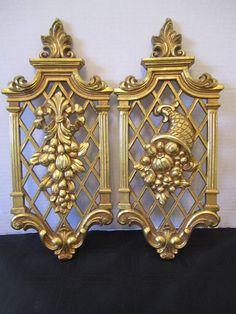 2 Hollywood Regency Gold Lattice Dart Wall Plaque Syroco Four Seasons Fruit