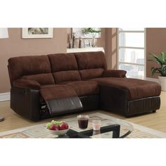 Unique Amazing Dark Chocolate Microfiber Loveseat Chaise With Round Table