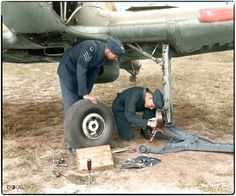 Members of No.1 Squadron RCAF ground crew tend to a Hawker Hurricane. While Leading Aircraftman P.J. Thurgeon removes the port wheel, because of faulty brakes, Sergeant Bob Fair checks to see if the craft should go into maintenance to be repaired.