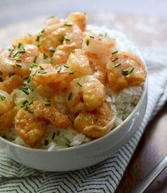 Skinny Bang Bang Shrimp ~ A lighter vesion of the popular restaurant appetizer, served over rice.