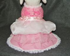 Dog Dress, Pet Formal Wear,Dog Wedding Dress, Layered Pink and White Satin, Lace and Tulle Ruffled Dog Dress Formal Wedding Attire, Dog Wedding Attire, Dog Wedding Dress, Formal Wear, Wedding Dresses, Large Dog Clothes, Pet Clothes, Dog Clothing, Dog Dresses