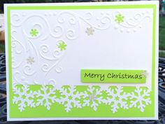 Snowflakes Christmas card Lime Green Christmas card by Lufianti