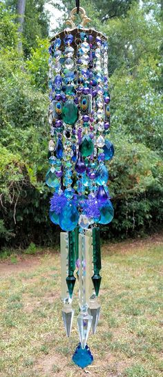 Boho Peacock Antique Crystal Wind Chime by sheriscrystals on Etsy