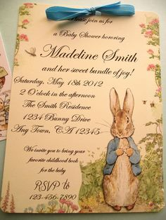 Peter Rabbit Vintage Style Baby Shower or Birthday Party Invitation Book Shower. $5.00, via Etsy. im in love with this  we can do one similar.we might could even use my collection of vintage bunnies