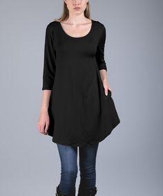 Black Side-Pocket Scoop Neck Tunic - Plus Too