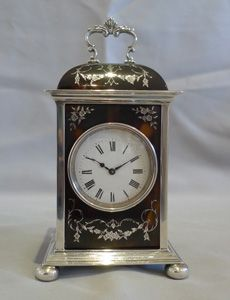 English Dome Topped Tortoise Shell & Silver Piquet Carriage Clock.