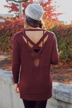 Knit criss cross back side slits top uoionline com women s clothing