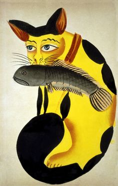 """Cat with a fish in its mouth. Gouache on paper, in Kalighat style. Calcutta, India, c.1890."""
