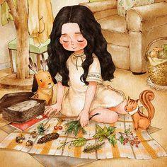 솔방울과 도토리, 나무열매가 달린 가지, 반질반질한 나뭇잎. 숲에서 찾은 예쁜 것들:) #illust #illustration #drawing #sketch #pinecone #treebranches #nut #squirrel #rudolphdog #girl #aeppol #일러스트레이션 #일러스트 #솔방울 #다람쥐 #소녀 #애뽈