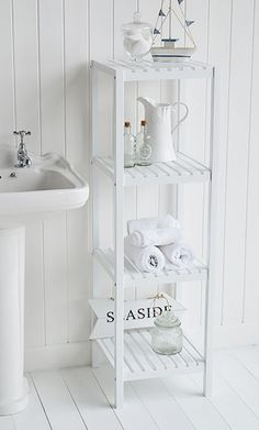 Bathroom shelves for white bathroom furniture