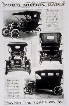 Ford, 1908. Although automobiles had already existed for decades, they were still scarce and expensive at the Model T's introduction in 1908. Positioned as reliable, easily maintained mass market transportation, it was a runaway success. In a matter of days after the release, 15,000 orders were placed. The first production Model T was produced on August 12, 1908 and left the factory on September 27, 1908, from the Ford Piquette Avenue Plant in Detroit, Michigan.