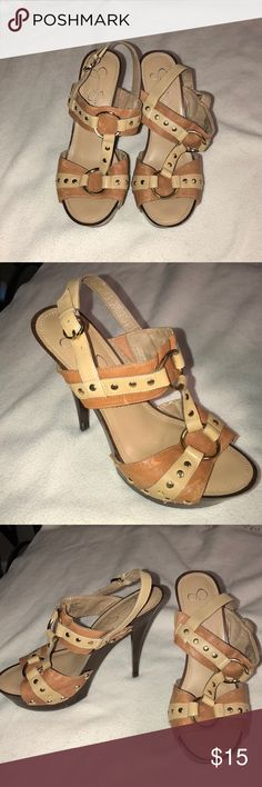 Jessica Simpson Heels Jessica Simpson Heels. Leather with Gold Rings and Gold Stud Decor. Shades of Brown and Tan. Wooden Sole and Heel. 4 Inch Heel. Great Condition! Jessica Simpson Shoes Heels